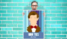 Doctor Who Matt Smith Bow Ties Are Cool - Wall Art Print Poster   - Kids Children Bedroom Geekery